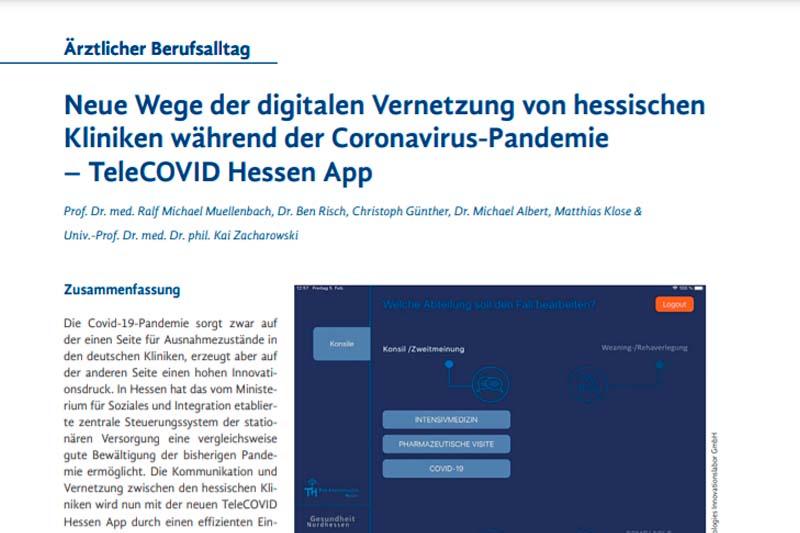 Neue Wege der digitalen Vernetzung von hessischen Kliniken während der Coronavirus-Pandemie - TeleCOVID Hessen App