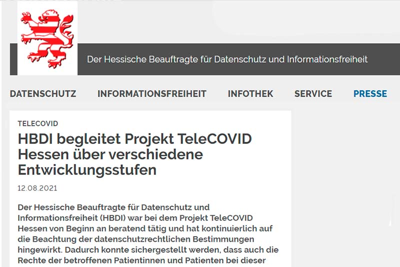 HBDI TeleCOVID Entwicklungsstufen