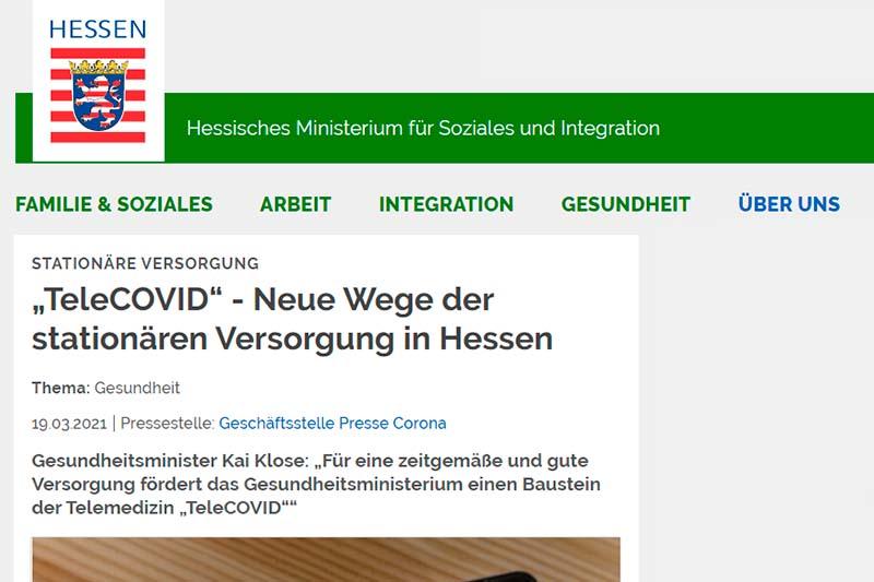 Hessisches Ministerium für Soziales und Integration TeleCOVID